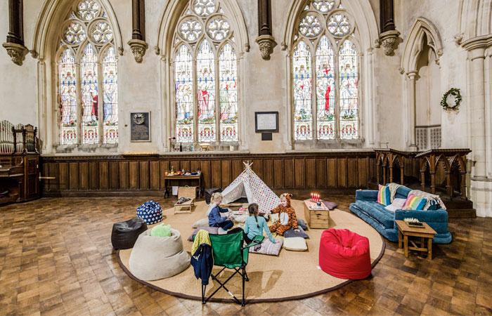 champing church camping england