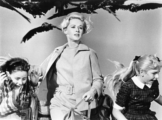 The Birds is one of many Hitchcock films that inspired Alexander McQueen. (Photo credit: Universal Pictures Company, Inc.)
